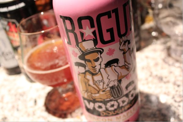 Rogue Voodoo Donut Maple Bacon Ale. Brown ale w/ smoked malt, bacon, maple flavor. tastes like a donut. 6.5%