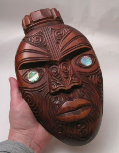 SIGNED-WIREMU-HANDCARVED-KAURI-MAORI-WARRIOR-MASK-NEW-ZEALAND-CARVING