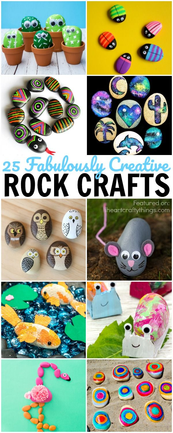 Here are 25 creative rock crafts for kids. Great summer kids crafts, rock hunting crafts, nature crafts and summer activities for kids.