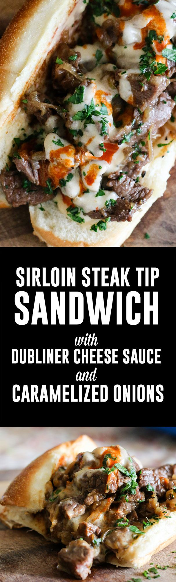 Steak Tip Sandwich with Dubliner Cheese Sauce and Caramelized Onions