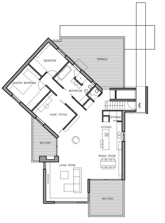 floor plan. i'd put the door at the first of the angled wing and make that the walk in closet, sitting room and bedroom. nice. love the angles.