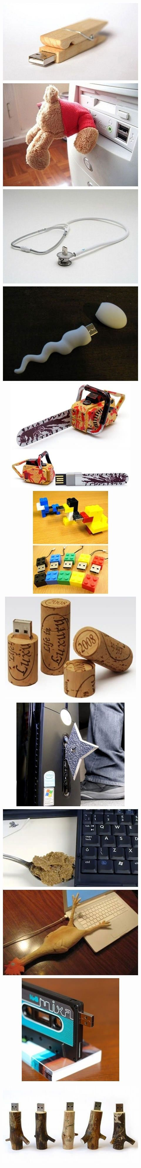 More! Creative USB flash drives - people really come up with some funny stuff! #creativity