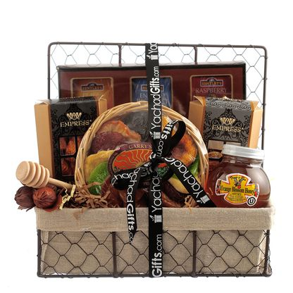 Rosh Hashana Kosher Gift Basket Pareve, Bring in the new year with this scrumptious gift basket, surely to enhace your Yom Tov!  Contains: Large Tea Set, Large Honey, Honey Dipper, Empress Chocolates and Garrys Fruit Platter  Parve,  Rosh Hashana Gourmet Gift Basket, Rosh Hashanah Gifts, Rosh Hashanah Kosher Gifts, Shana Tova Gifts, Jewish New Year Gifts
