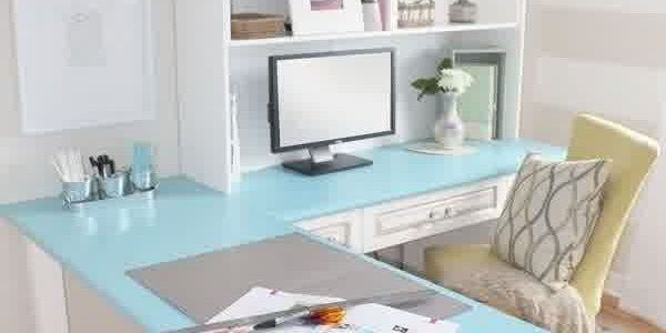 Wonderful Choice For Small Home Office Designs : Pretty Home Office Design Ideas With Chic Chandelier And Nice Desk And Chair Also Stripes Wall