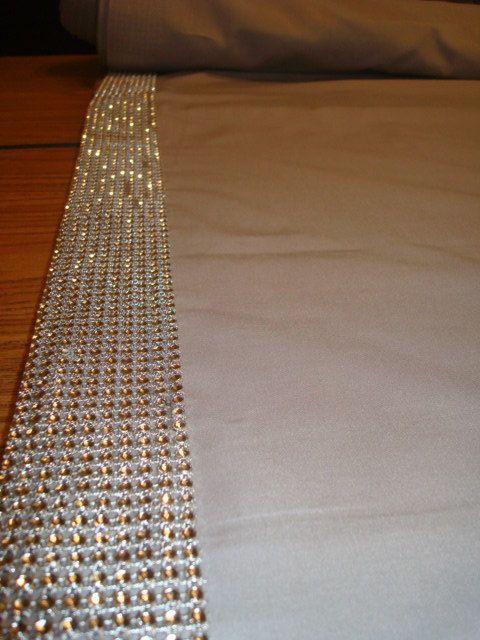 fabric wedding aisle runner with rhinestone border 50 foot