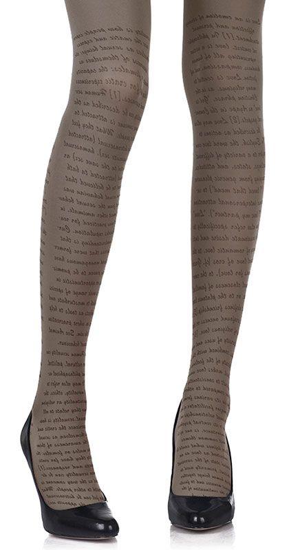 Create a fun & stylish Look with these Love Text Print Tights Medium Grey & Black #TrendyLegs