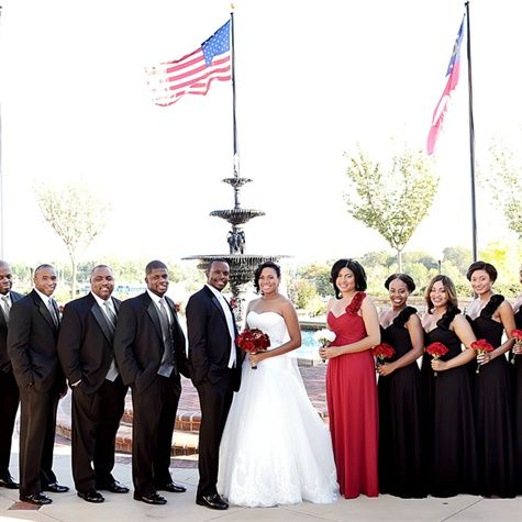 Black and red wedding dresses for bride