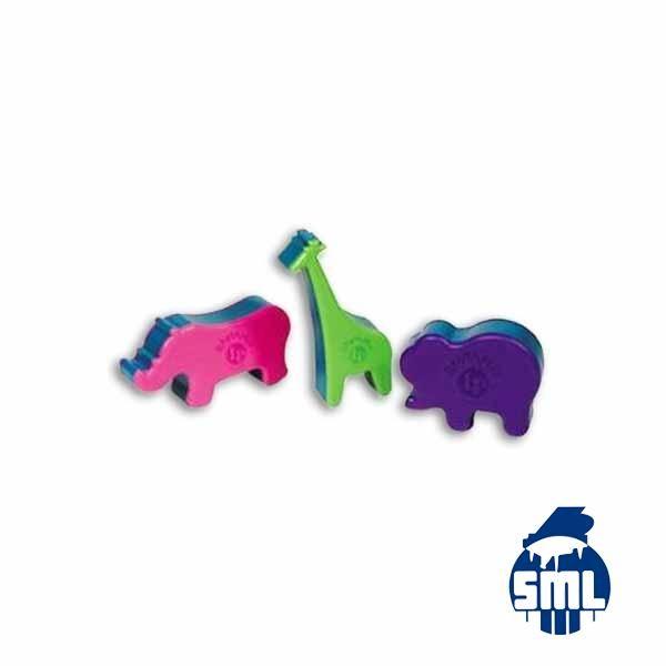 Características:Conjunto de 3 shakers coloridos em forma de animais (girafa, elefante e rinoceronte).Inclui um livrinho de atividades musica