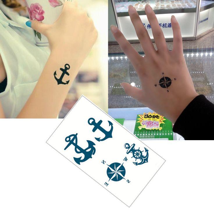 Bule Black Anchors  Flash Tattoo Hand Sticker 10.5*6cm Small Waterproof Henna Beauty Temporary Body Tattoo Sticker
