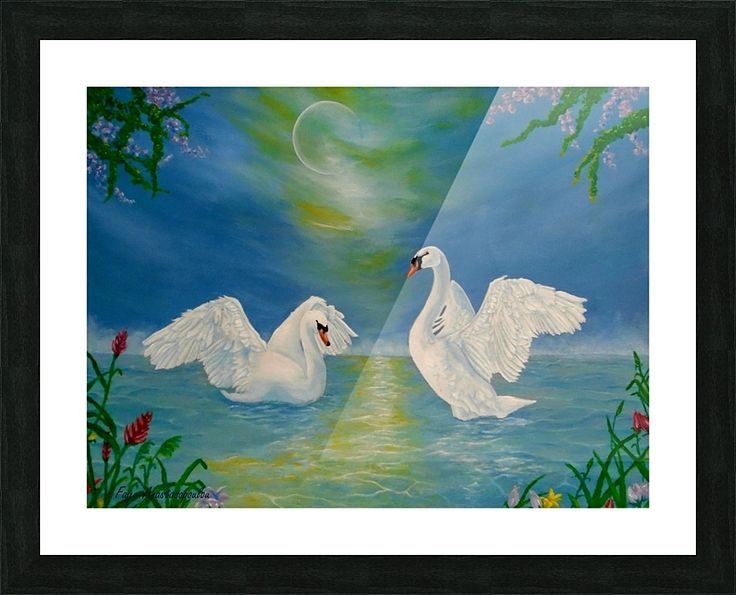 Framed, Art Print, swans,painting,lake,scene,wildlife,nature,romantic,nightscape,poetic,love,fantasy,dream,imaginary,wild,birds,dance,vivid,colorful,turquoise,blue,water,beautiful,awesome,cool,superb,amazing,fabulous,magnificent,contemporary,realistic,figurative,fine,oil,wall,art,images,home,office,decor,artwork,items,ideas,for sale,pictorem