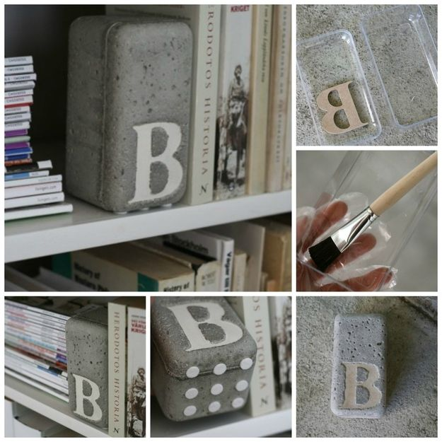Concrete Initial | 23 Lovely DIY Bookends To Adorn Your Shelves