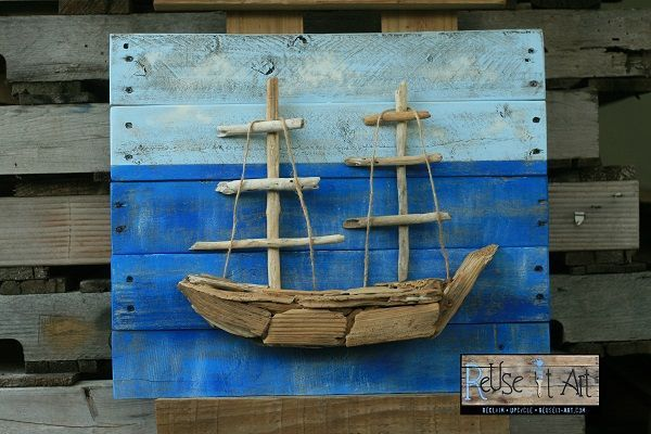 Pallet wood frame & driftwood ship sculpture art