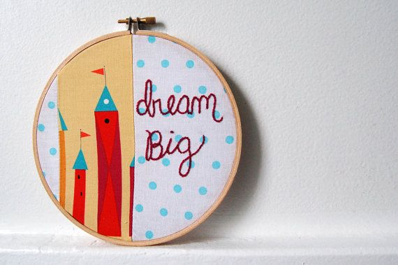 Dream Big. Whimsical Fairy Tale Castles in Red, Yellow. Polka Dot Patchwork, Hand Embroidery in 6 inch Hoop. Handmade by merriweathercouncil on Etsy