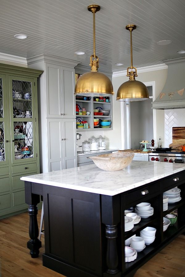 Kitchen lights, island and hutch.  Whole combo really...