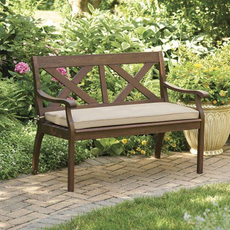 Better Homes and Gardens Cawood Place 4' Bench, Natural Seat Pad, Expresso