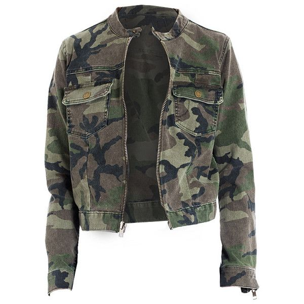 'Wesley' Camo Jacket ($269) ❤ liked on Polyvore featuring outerwear, jackets, tops, shirts, camo print jacket, camoflauge jacket, camoflage jacket, camouflage jacket and zip front jacket