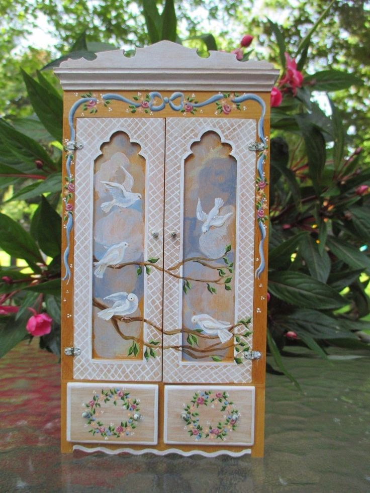 Dollhouse Miniatures Karen Markland Exquisite Wardrobe w Painted Doves from '87 | eBay