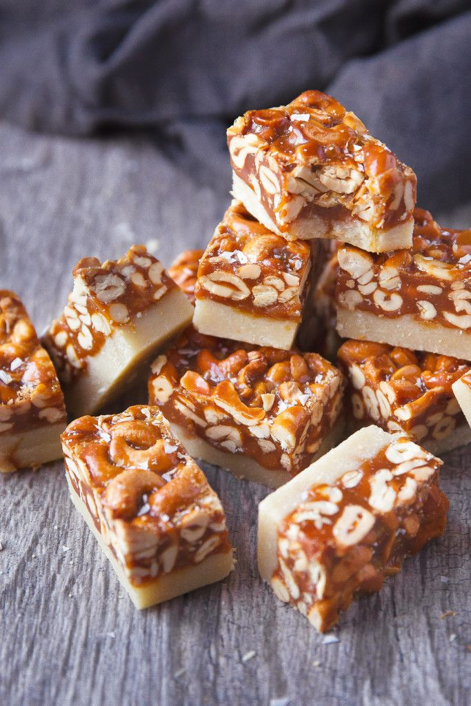 Salted Caramel Cashew Bars - A thick and chewy caramel cashew bar with a cookie-like shortbread crust!