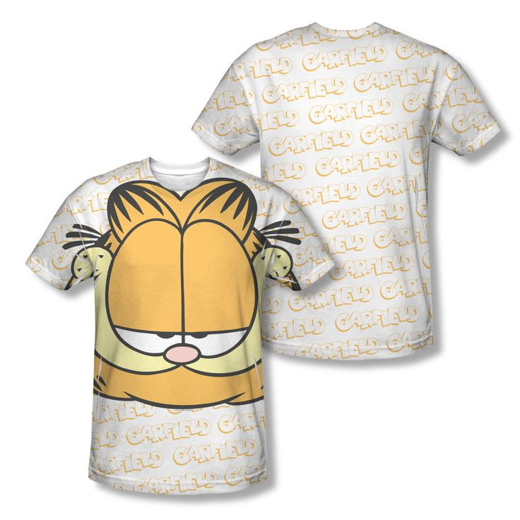 Garfield Classic Cartoon Face Grin Logo Collage Sublimation All-Over T-shirt Top Mens Sizes: S, M, L, XL, 2XL