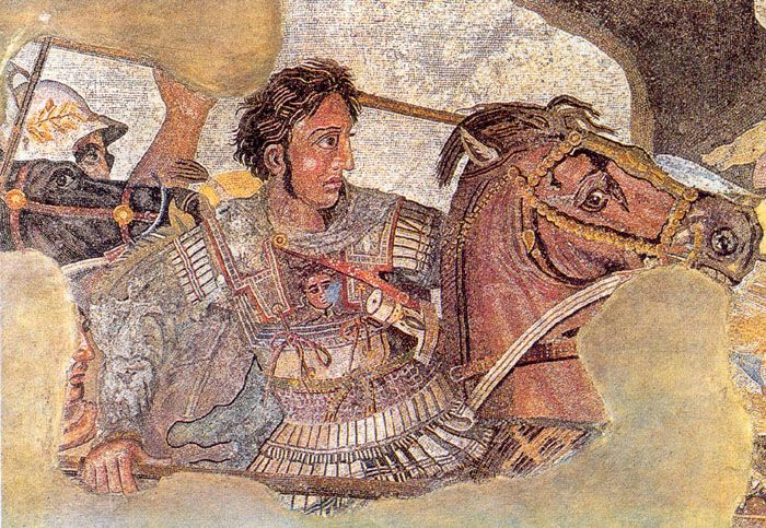 Alexander the Great.  The Alexander Mosaic, dating from circa 100 BC, is a Roman floor mosaic originally from the House of the Faun in Pompeii. It depicts a battle between the armies of Alexander the Great and Darius III of Persia and measures 2.72 x 5.13m (8 ft 11in x 16 ft 9in).The original is preserved in the Naples National Archaeological Museum. The mosaic is believed to be a copy of an early 3rd century BC Hellenistic painting, possibly by Philoxenos of Eretria.