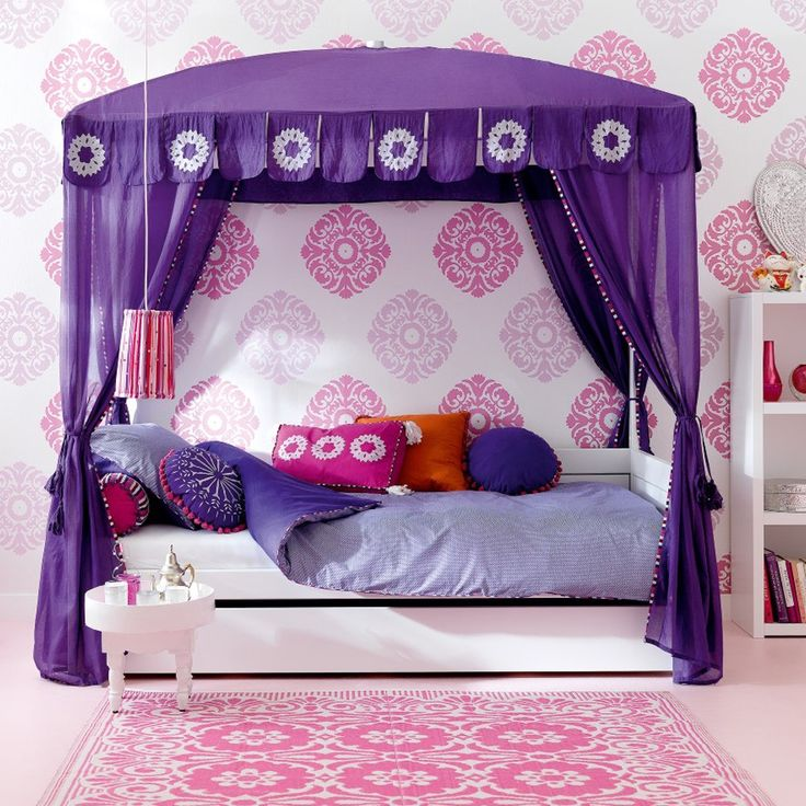 Various Kids Bedroom Design For You Today : Morocco Luxury Girls Poster  Purple Curtain Bed White Coffee Table Pink Carpet And Bookcase