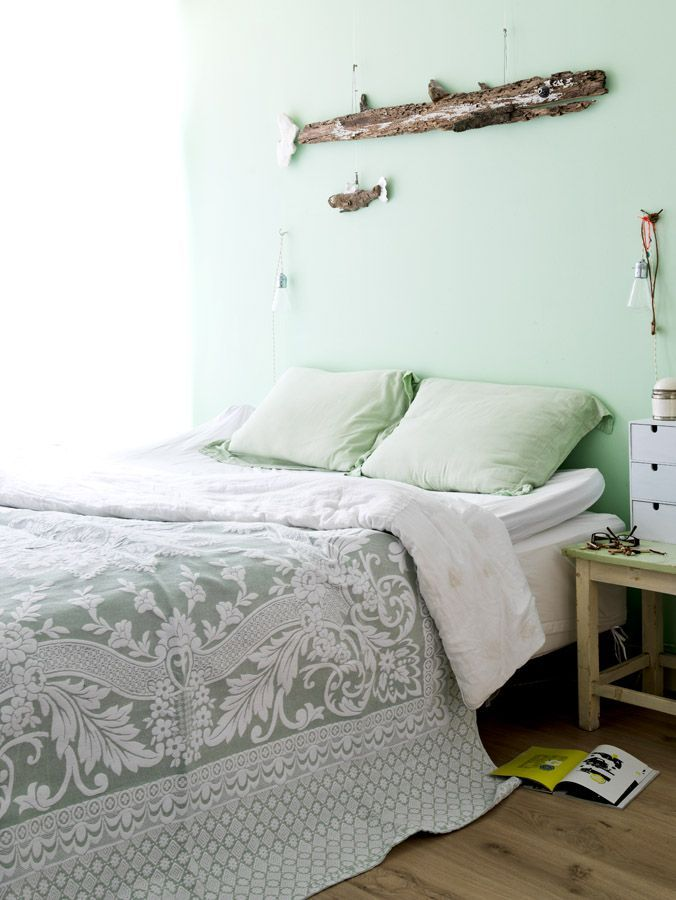 Amazing Mint Color In the Interiors: 35 Trendy Ideas : Mint Color In The Interiors With White And Green Bedroom Wall And Bed Pillow Blanket ...