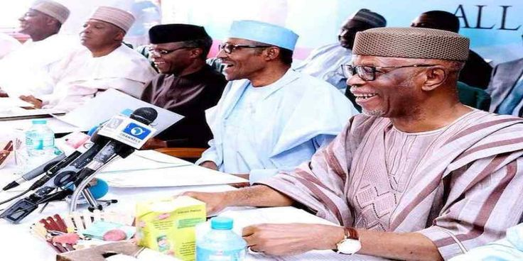 """Top News: """"NIGERIA POLITICS: Governors Back Buhari as APC Defers Decision on Automatic Ticket"""" - https://i0.wp.com/politicoscope.com/wp-content/uploads/2017/11/Muhammadu-Buhari-NIGERIA-NEWS-IN-POLITICS-CABINETS.jpg?fit=1000%2C500 - Regarding the issue of an automatic ticket for the president, Plateau State Governor Simon Lalong said all the APC governors had resolved that they would work for a return ticket for Buhari, adding that the party does not have anyone that could mat"""
