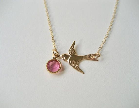 Bird Necklace with Opal Crystal Gold Bird Necklace October