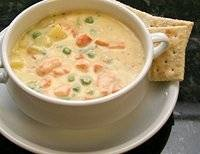 Salmon Chowder - my favorite chowder recipe that I even add corn, clams and shrimp and instead of chicken broth I use fish broth...and it's sooo good, quick and easy to make, my favorite kind...lol