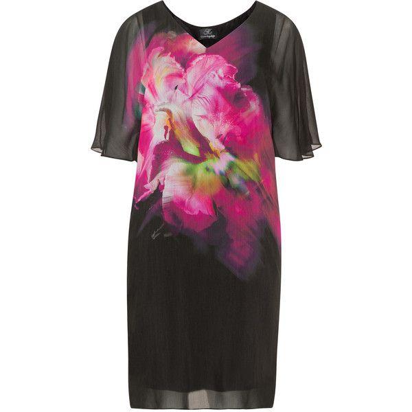 Kirsten Krog Black / Pink Plus Size Flower print silk mix dress ($315) ❤ liked on Polyvore featuring dresses, black, plus size, pink slip, pink silk dress, plus size slip, pink floral dress and silk dress
