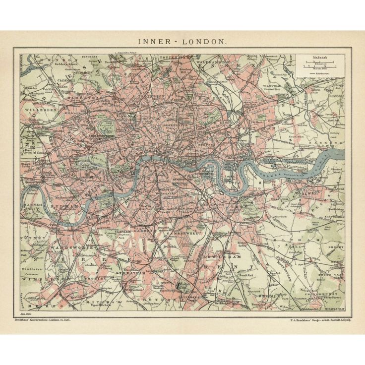 Antique map reproduction of London. Handmade paper print. Old map print of London
