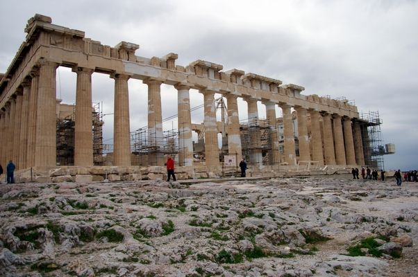"""The Parthenon on top of the Acropolis Athens Greece. As you can see they are attempting to repair it back to its original shape. This is just the first floor as it had another floor with columns on top of this one. """"Unbelievable isn't it that they did that without the help of modern machinery""""."""