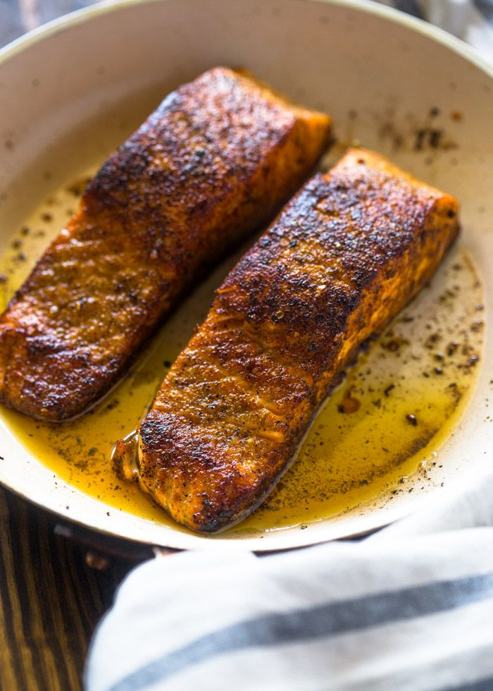 Easy and fail proof way to cooking salmon that makes the perfect crispy skin in under 10 minutes! My favorite way to cook salmon is by pan searing it. Salmon is such a delicate fish, it can over c…