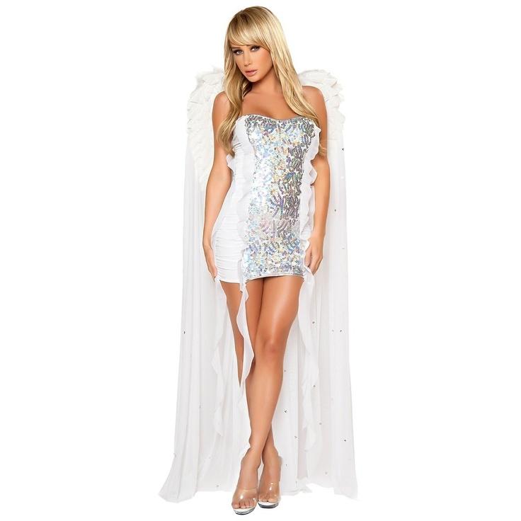 Sexy Saint Adult Womens Iridescent White Angel Christmas Costume | eBay