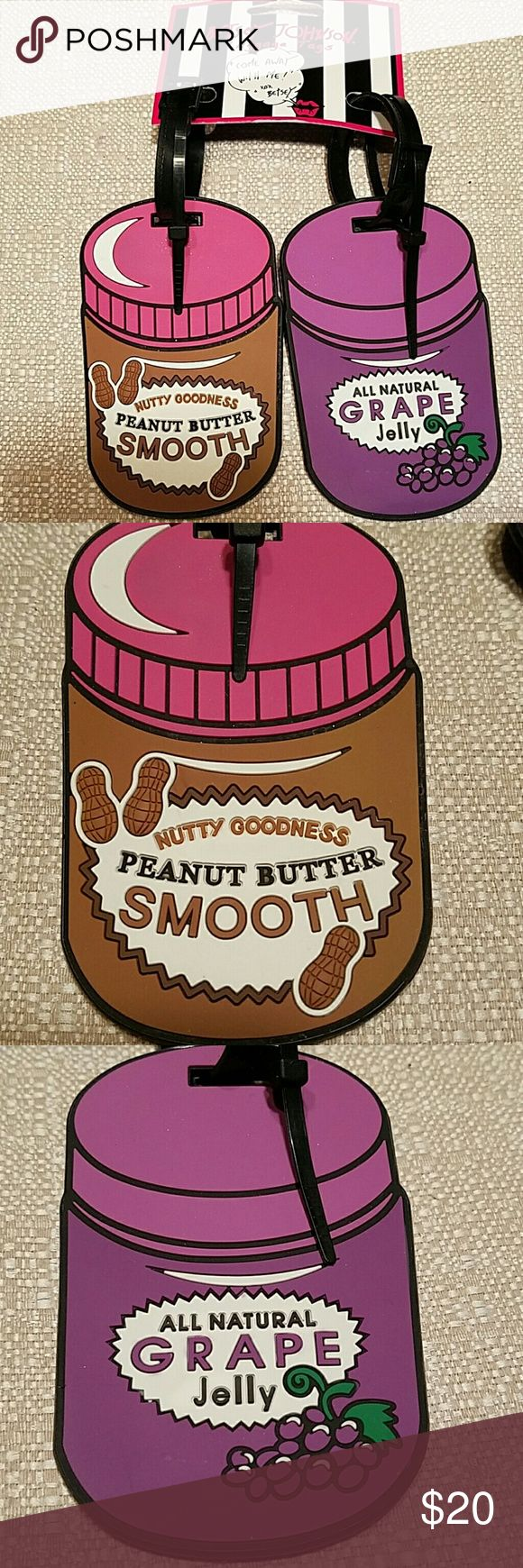 Betsy Johnson Luggage Tags 2-pack PB & J,  NWT You can thank Betsy for giving us these ridiculously adorable luggage tags the perfect pair Peanut Butter and Jelly Jars. Travel in style with these bold colors that make it easy to spot your precious luggage from afar. Flexible rubber material is sturdy and wear resistant. Yay Betsy fun!! Brand new with tags. Betsey Johnson Accessories