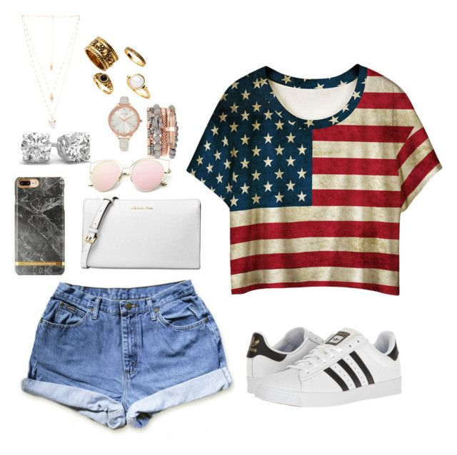 """Ameri pride"" by paytton-white on Polyvore featuring WithChic, adidas, Michael Kors, Jessica Carlyle and Natalie B"