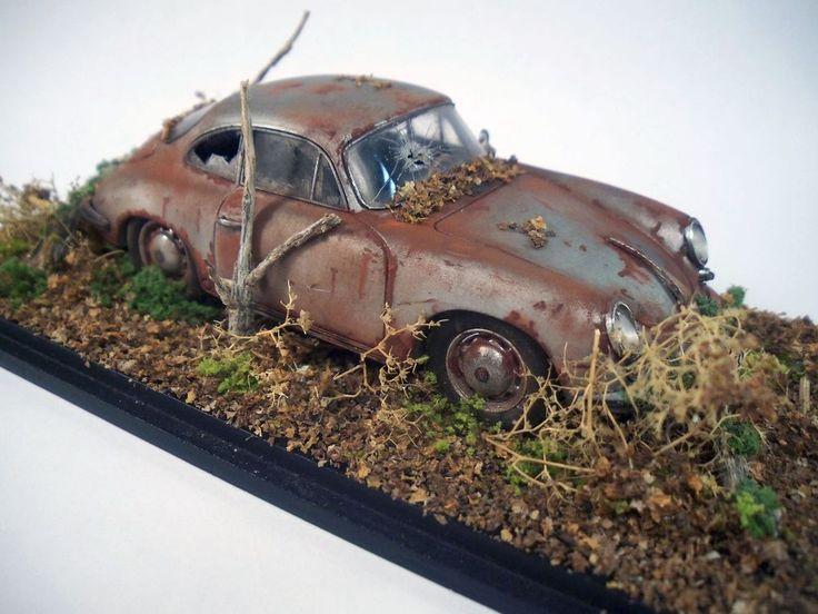1963 Porsche 356 Carrera 2 Barn Find Custom Weathered Diorama Original 1 43 Spark