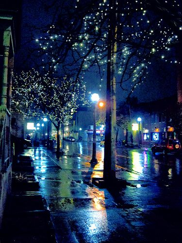 wet streetsRainy Night, Night Photography, Blue, Cities Street, Night Time, Anne Arbors, Street Lights, Cities Lights, The Holiday