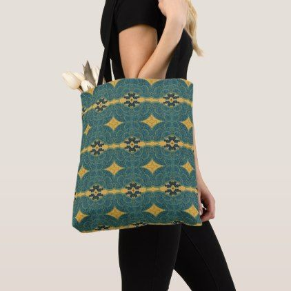 Oriental Look Blue Cream Pattern Tote Bag - pattern sample design template diy cyo customize