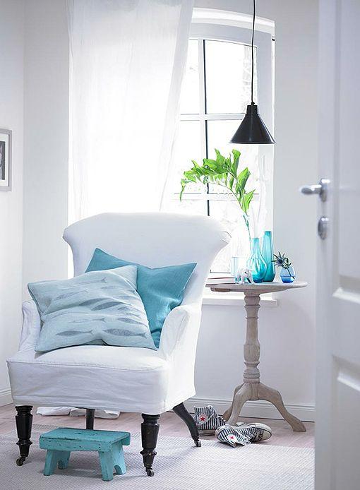 white and blue home decor
