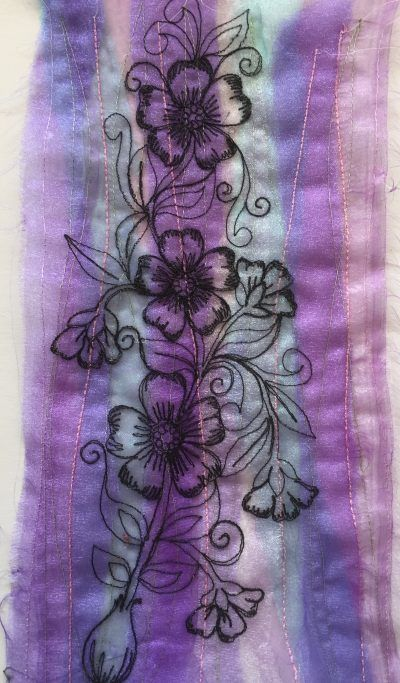 Organza purple bulb sketched flower fabric panel