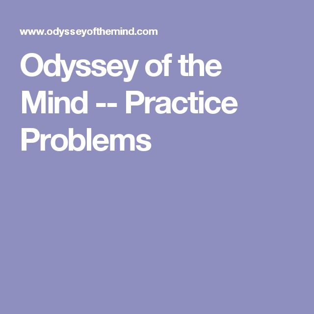 Odyssey of the Mind -- Practice Problems