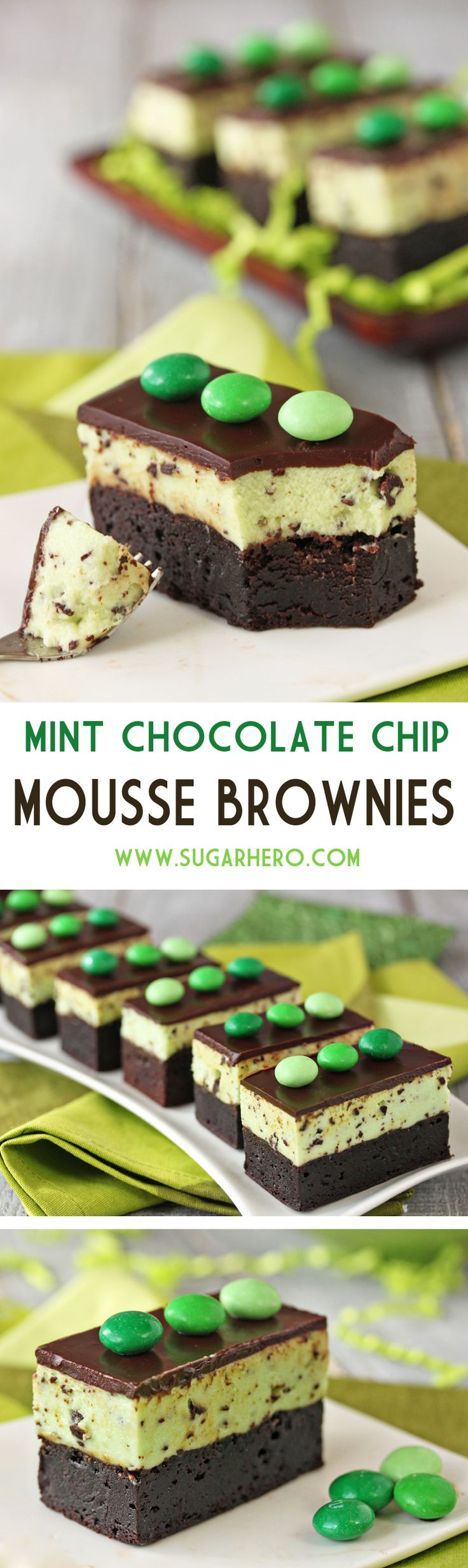 Mint Chocolate Chip Mousse Brownies - fudgy brownies, topped with light and fluffy mint chip mousse, and finished with shiny chocolate ganache. | From SugarHero.com