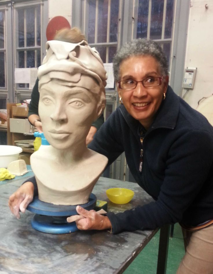 Finished sculpture by Sherill.  workshop Portrait with Clay Slabs - teacher Elias Mohd