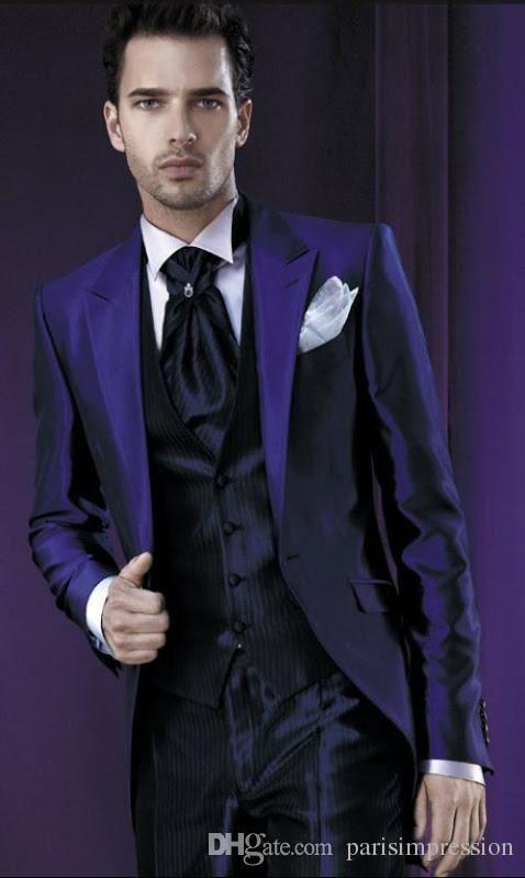 Men Tailcoat Purple Wedding Suits For Groomsmen 3 Pieces Groom Custom Peaked Lapel Jacket Pants Vest Tie
