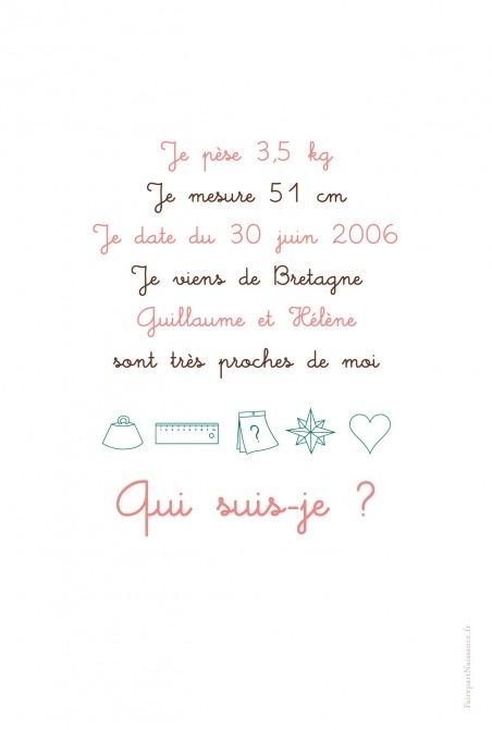 Faire-part de naissance (baby announcement) : Enigme fille - by Marion Bizet pour http://www.fairepartnaissance.fr #naissance #fairepart #birth