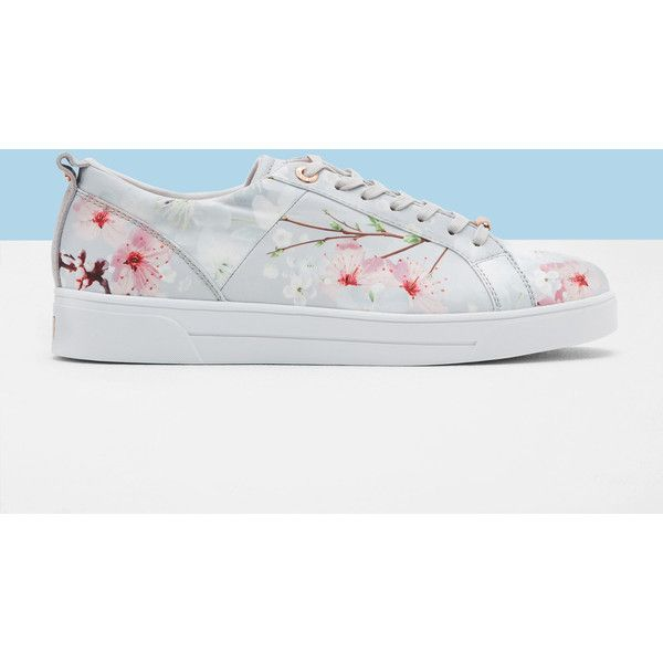 Ted Baker Oriental Blossom trainers ($125) ❤ liked on Polyvore featuring shoes, sneakers, light gray, ted baker shoes, metallic shoes, flower sneakers, ted baker sneakers and lace up shoes