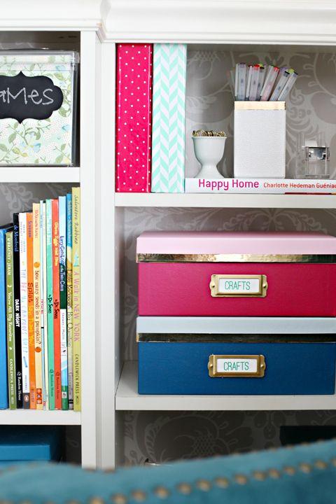 4Be Inspired: Stylish Storage Box Update using gold mylar tape. kate spade-inspired storage boxes