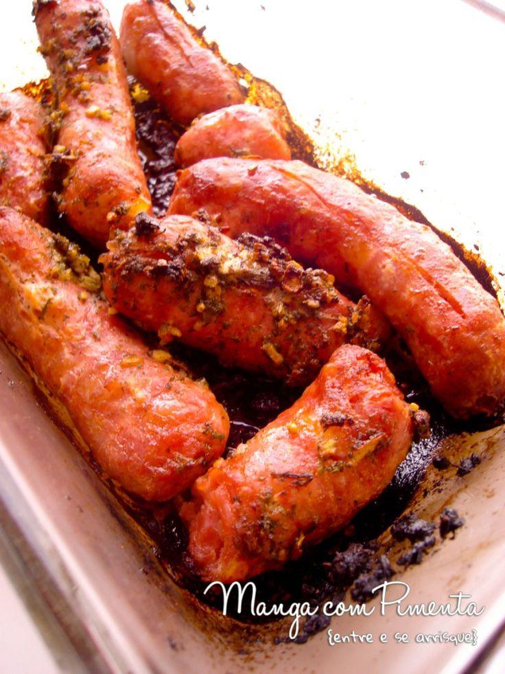 Linguiça de Churrasco feito no Forno, clique na imagem para ver a receita no Manga com Pimenta.