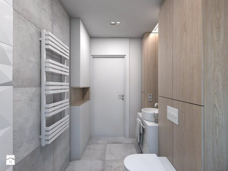 (Dom w okolicy Lublińca) Dom jednorodzinny 7 - Średnia łazienka bez okna, styl nowoczesny - zdjęcie od BAGUA Pracownia Architektury Wnętrz